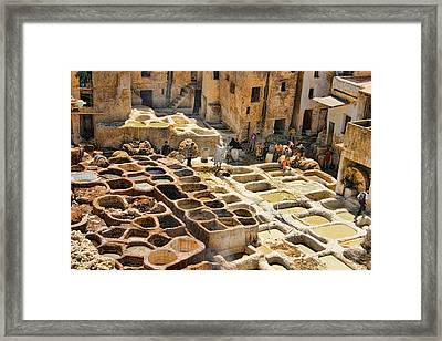 Tanneries Of Fes Morroco Framed Print by David Smith