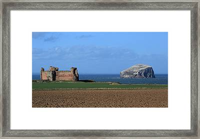 Tantallon Castle And The Bass Rock Framed Print by Maria Gaellman