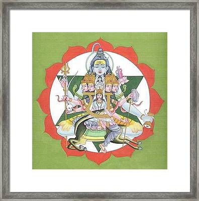 Tantrik Diagram Of Lord Shiva, Mantra Yantra ,indian Miniature Painting, Watercolor Artwork, India Framed Print by B K Mitra