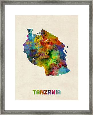Tanzania Watercolor Map Framed Print