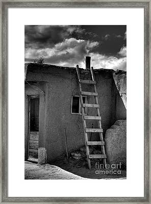 Taos Adobe And Ladder Framed Print by David Waldrop