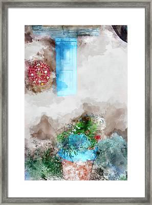 Taos Blue Window Framed Print