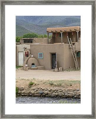 Taos Pueblo Adobe House With Pots Framed Print by Allen Sheffield