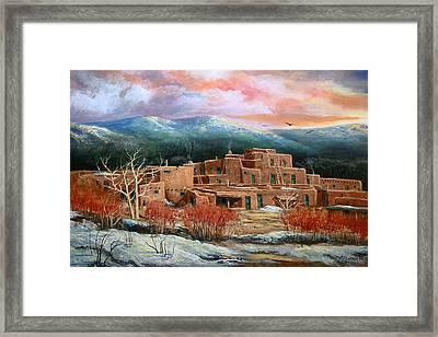 Taos Pueblo Framed Print by Brooke lyman