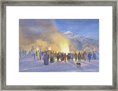 Taos Pueblo On Christmas Eve Framed Print