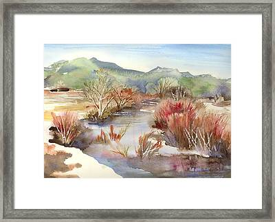 Framed Print featuring the painting Taos Pueblo by Yolanda Koh