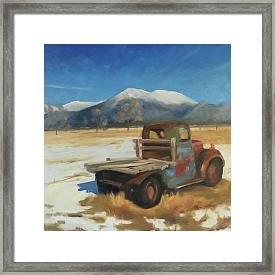 Taos Truck In The Snow Framed Print by Elizabeth Jose
