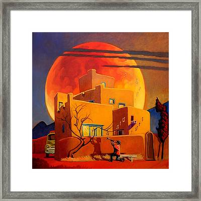 Taos Wolf Moon Framed Print by Art West
