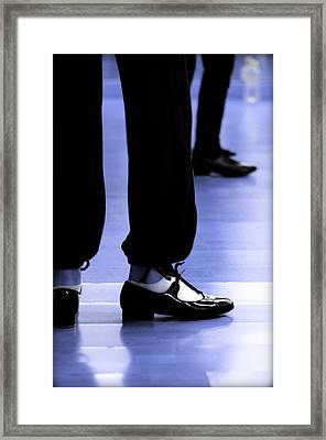 Tap Dance In Blue Are Shoes Tapping In A Dance Academy Framed Print