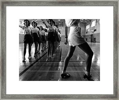 Tap Dancing Class In The Gymnasium Framed Print by Everett