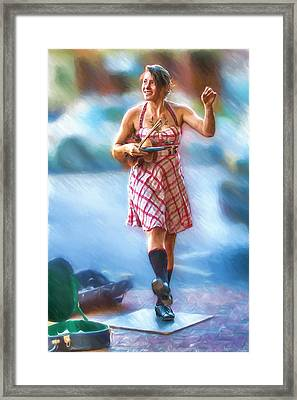 Tap Dancing With A Violin Framed Print by John Haldane