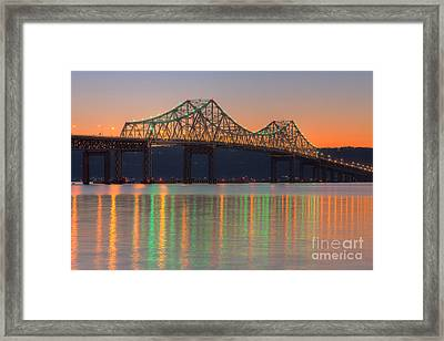 Tappan Zee Bridge After Sunset I Framed Print by Clarence Holmes