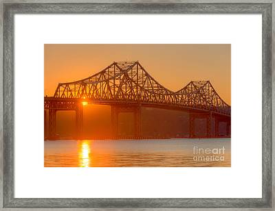 Tappan Zee Bridge At Sunset I Framed Print by Clarence Holmes