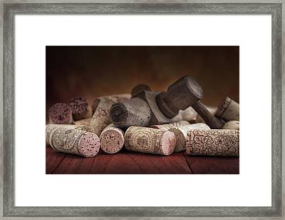Tapped Out - Wine Tap With Corks Framed Print