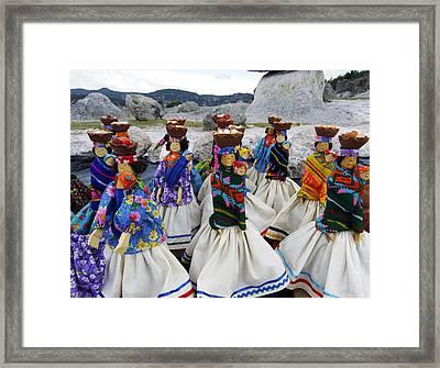 Tarahumara Dolls Dancing Amongst The Rocks Framed Print by Kurt Van Wagner