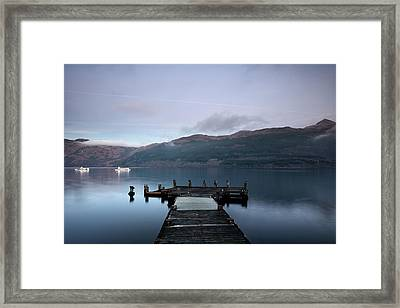 Framed Print featuring the photograph Tarbet Twilight by Grant Glendinning