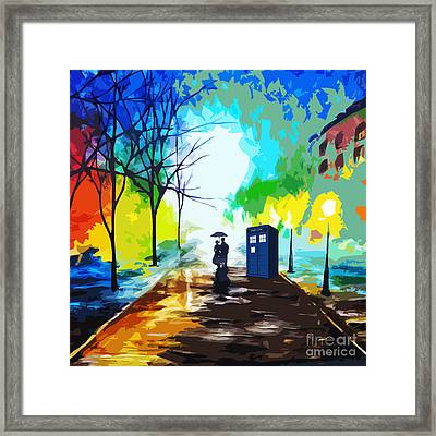 Tardis Art Love Story Framed Print