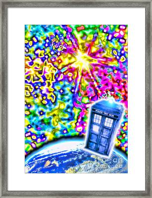 Tardis In A Psychedelic Universe Framed Print by Robert Radmore