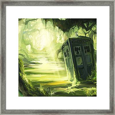 Tardis In The Swamp Framed Print by Edi Suniarto