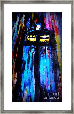 Tardis Into The Time Vortex Framed Print