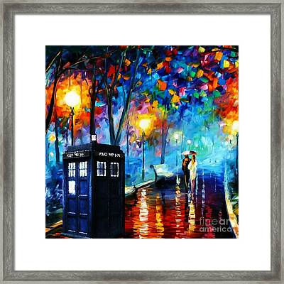Tardis Starry Painting Framed Print by Vika Chan