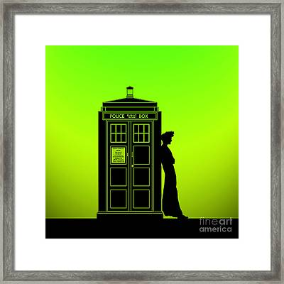 Tardis With The Tenth Doctor Framed Print