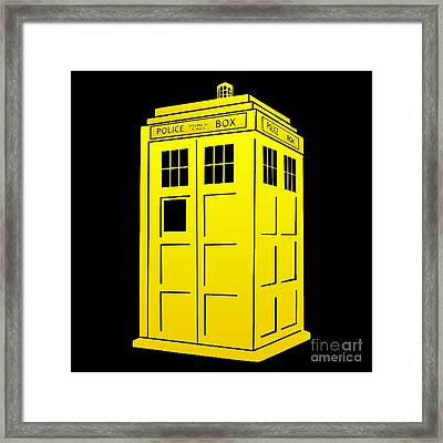Tardis Yellow And Black Framed Print by Justin Moore