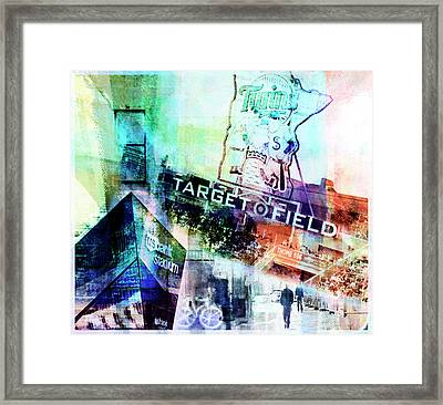 Framed Print featuring the digital art Target Field Us Bank Staduim  by Susan Stone