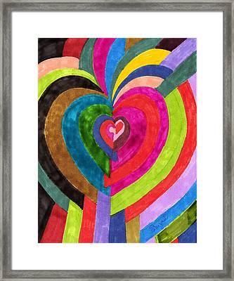 Target Hearts Framed Print by Brenda Adams