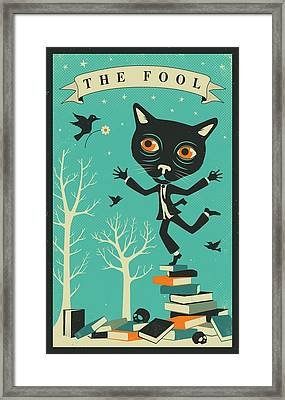 Tarot Card Cat The Fool Framed Print by Jazzberry Blue