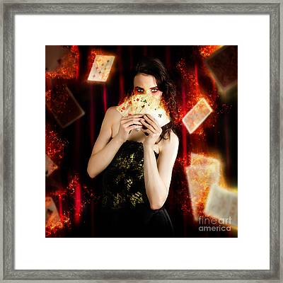 Tarot Magician Holding Magic Fire Cards Of Fate Framed Print by Jorgo Photography - Wall Art Gallery
