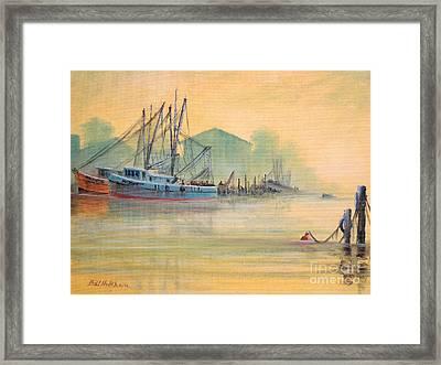 Tarpon Springs Sponge Docks Misty Sunrise Framed Print