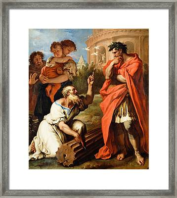 Tarquin The Elder Consulting Attius Navius Framed Print by Sebastiano Ricci