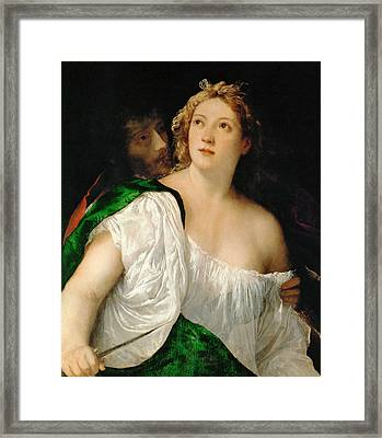Tarquinius And Lucretia Framed Print by Titian