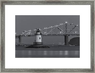 Tarrytown Lighthouse And Tappan Zee Bridge At Twilight II Framed Print