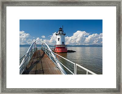 Tarrytown Lighthouse Hudson River New York Framed Print by George Oze