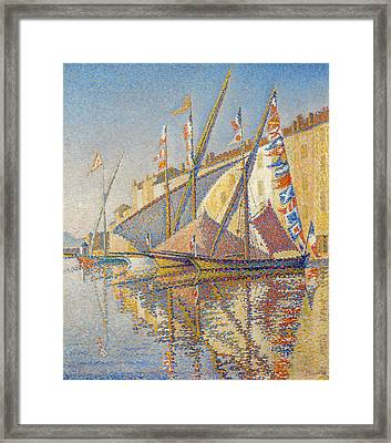 Tartans With Flags Framed Print by Paul Signac