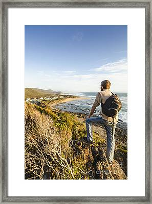 Tasmania Bushwalking Tourist Framed Print by Jorgo Photography - Wall Art Gallery