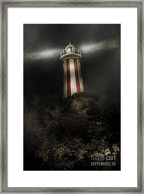 Tasmania Lighthouse In Rain Storm. Guiding Light Framed Print