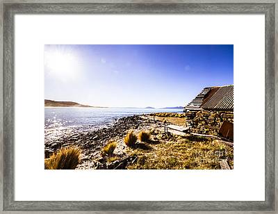 Tasmanian Boat Shed By The Ocean Framed Print