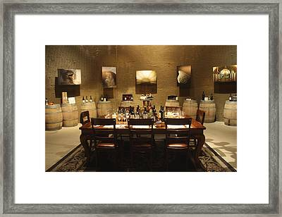 Tasting Room At Private Winery In Napa Framed Print by Diane Leone