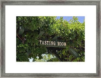 Tasting Room Sign Framed Print by Brandon Bourdages