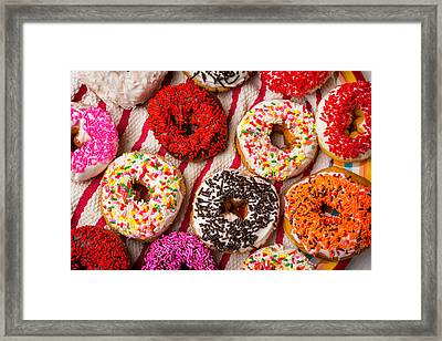 Tasty Colorful Donuts Framed Print by Garry Gay