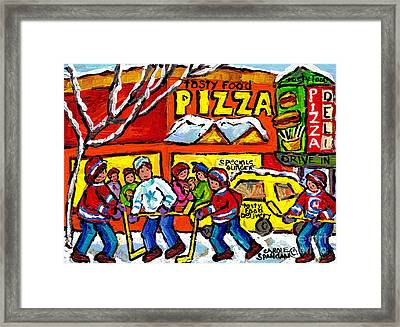 Tasty Food Pizza Montreal Winter Scene Restaurant Painting Hockey Art Canadian Artist Carole Spandau Framed Print