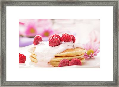 Tasty Pancakes With Raspberries  Framed Print by Vadim Goodwill