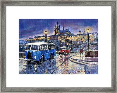 Tatra 85-91bus 1938 Praha Rnd Bus 1950 Prague Manesuv Bridge Framed Print by Yuriy Shevchuk