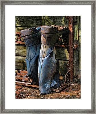 Tattered Wellies Framed Print by Helaine Cummins