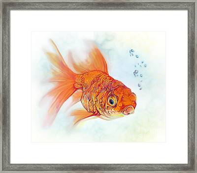 Tattoo And Watercolor Goldfish Framed Print