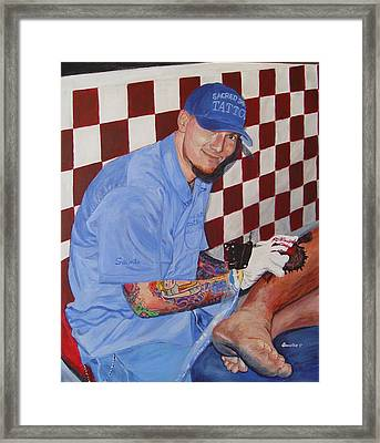 Framed Print featuring the painting Tattoo Artist - Brandon Notch by Quwatha Valentine