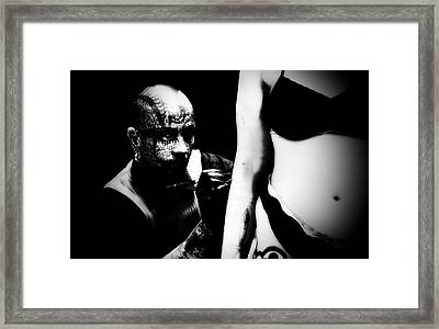 Tattoo Artist At Work Mono Framed Print by Simon Dack